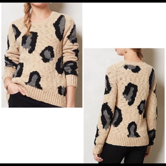 47114a6b8a34 Anthropologie Sweaters - Sleeping On Snow leopard print sweater Sz Large